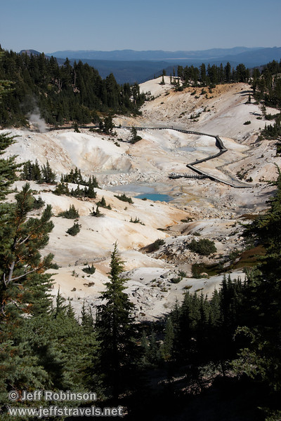 Overall view of Bumpass Hell with its blue pools, steam, and boardwalks (9/7/2009, Bumpass Hell Trail, Lassen NP)