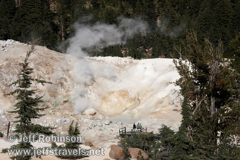 Visitors on the boardwalk viewing platform looking at the steam pouring from Bumpass Hell (9/7/2009, Bumpass Hell Trail, Lassen NP)