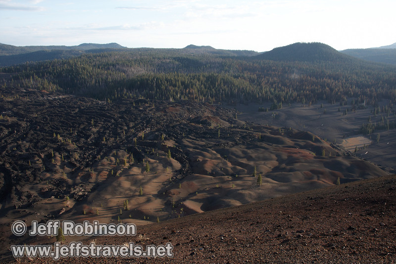 Late sun highlights the texture of the lava fields and colored dunes towards the west of Cinder Cone (9/11/2009, Cinder Cone hike, Lassen NP)