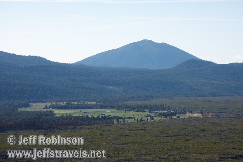Burney mountain over green fields (9/6/2009, Hat Creek Rim hike, Pacific Crest Trail near 44/89 junction)