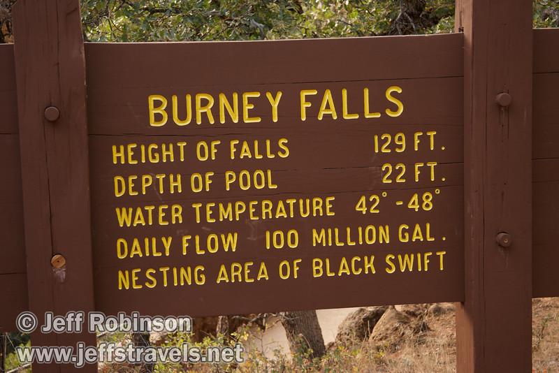 Sign giving statistics for Burney Falls (9/9/2009, Burney Falls Loop Trail, Burney Falls SP)