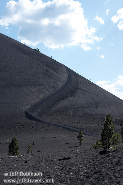Cinder Cone and the 22 degree trail climbing up its side (9/11/2009, Cinder Cone hike, Lassen NP)