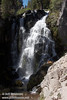 Mostly sunlit Kings Creek Falls. Seen from about half-way down to the base of the falls. (9/10/2009, Kings Creek Falls hike, Lassen NP)
