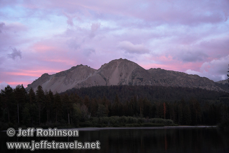 Chaos Crags over Manzanita Lake, with a hint of pink sunset colors above (9/5/2009)