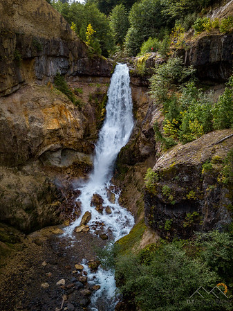An amazing 100' waterfall in Lava Canyon at the base of Mount St. Helens.