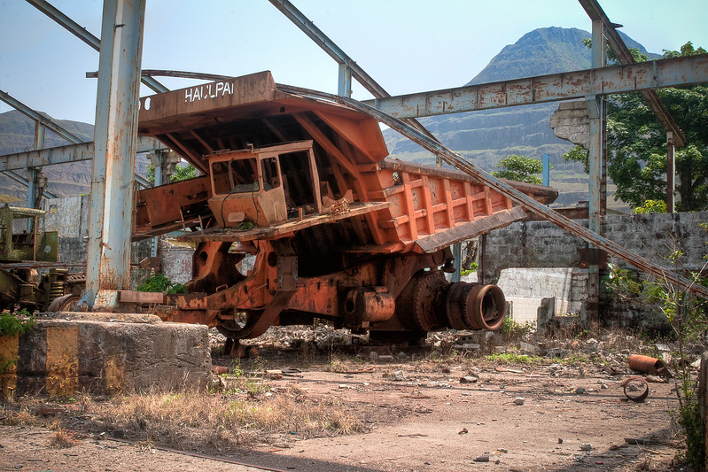 Abandoned Dump Truck At Loading Station