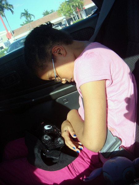 Someone fell asleep in the car!