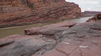 Bill does Devil's Crack the first of the more difficult obstacles on the Moab Rim Trail.