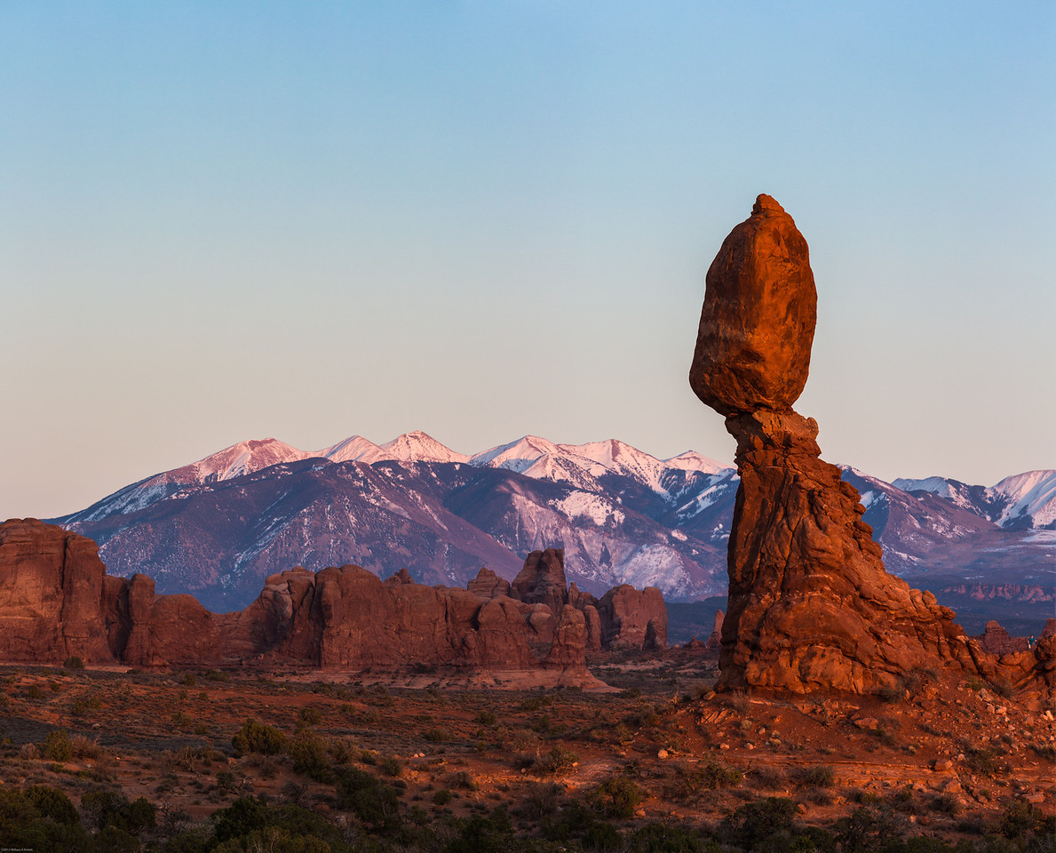 Balanced Rock in Arches at sunset