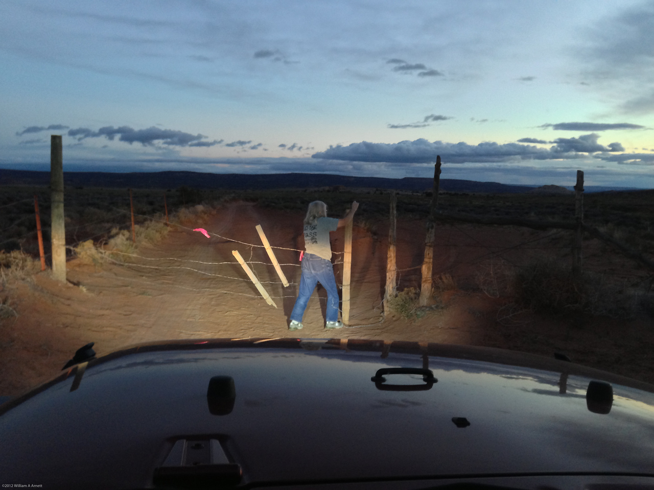 This gate was not on our maps.  Had we been unable to open it we didn't have enough gas to get back to civilization. There are wire cutters in my tool box but I didnt' want to have to use them.