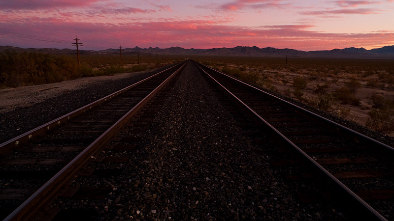 <em>Into the Sunset</em> The Union Pacific tracks pass directly in front of the Nipton Hotel. Copyright 2008 Ken Walsh