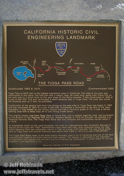 Sign about the creation of the Tioga Pass Road, seen at a turnout fairly near the top on the east side of the pass (Mono Lake 2002)