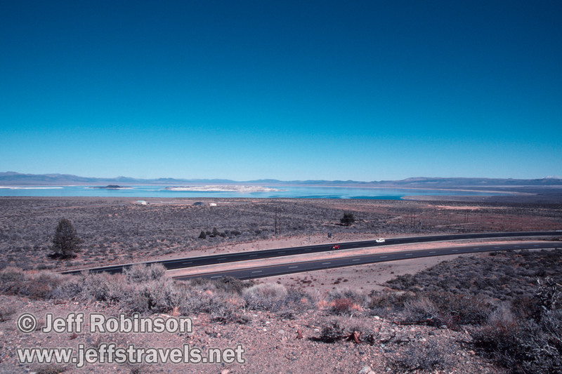 View of Mono Lake from vista point near Lee Vining with highway 395 in the foreground (Mono Lake 2002)