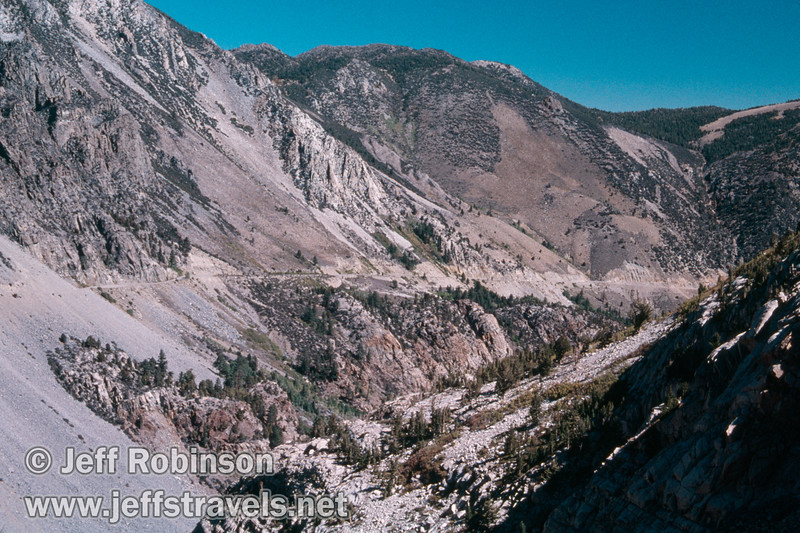 Mountains and valley with highway 120 on the east side of Tioga Pass dropping down to Lee Vining (Mono Lake 2002)