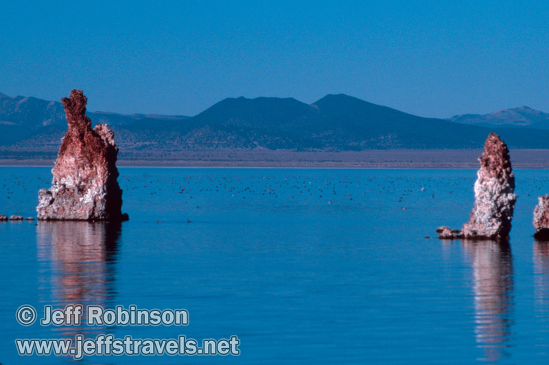View past Tufa pillars of thousands of birds floating in Mono Lake. (South Tufa, Mono Lake 2002)