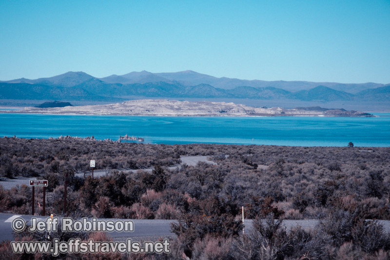 Roads leading to South Tufa and Navy beach, with Mono Lake and Paoha Island in the background. (Mono Lake 2002)