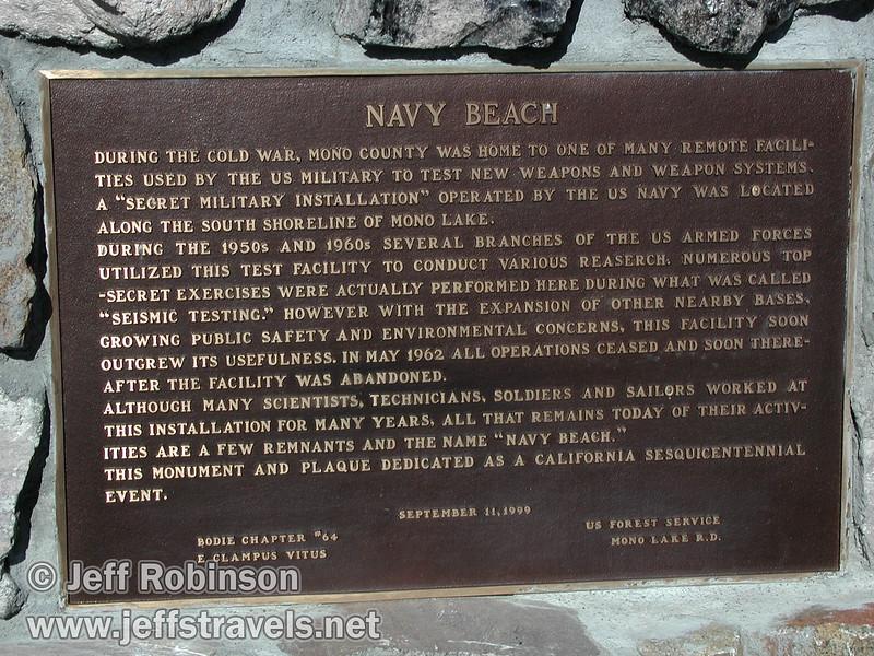 Sign describing Navy Beach, seen at the head of the road down to Navy Beach (Mono Lake 2002)