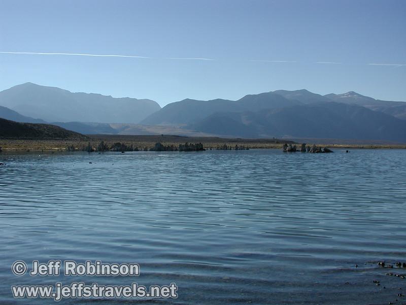 Westerly view from South Tufa over the edge of Mono Lake to more tufa (Mono Lake 2002)