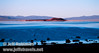 NE view of late sun on Negit Island with a silhouette of kayakers on the shore. Seen from the parking lot by Picnic Shortcut Rd. a bit NW of the visitor center. (South Tufa, Mono Lake 2002)