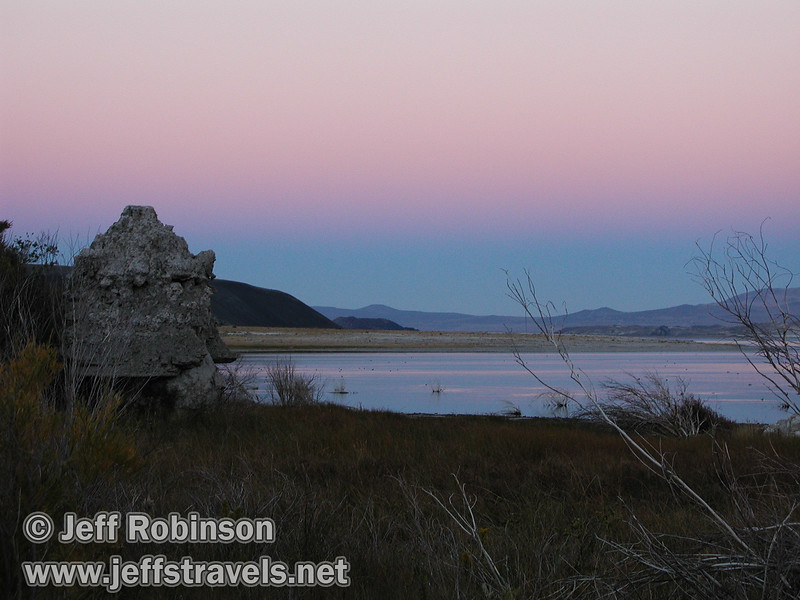 Rosy after sundown glow over Mono Lake with foreground tufa. (Fall 2002, Mono Lake Park, Mono Lake)