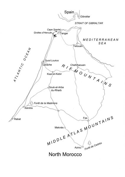 map with the visited area of North Morocco