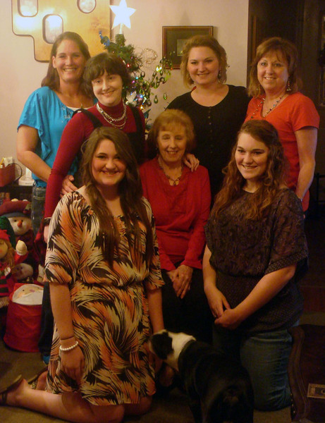 My grandmother, mother, sister, nieces and me. And Pugsy.
