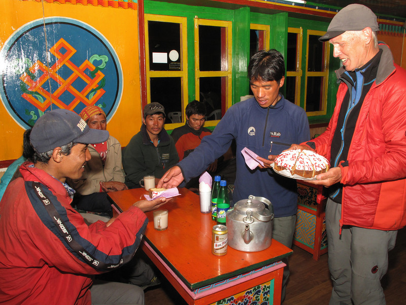 Giving a cake, Expedition Farewell Party, Lukla 2800m