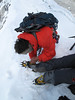 10.40h Crampons trouble on  the last arete to the summit. Ascending Imja Tse, Island Peak 6160m
