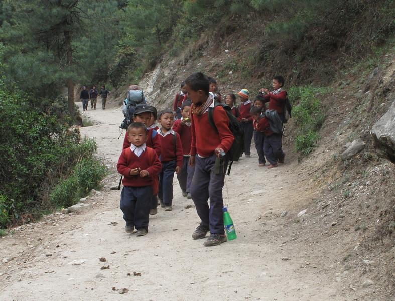 School children with uniform, Namche Bazar 3450m