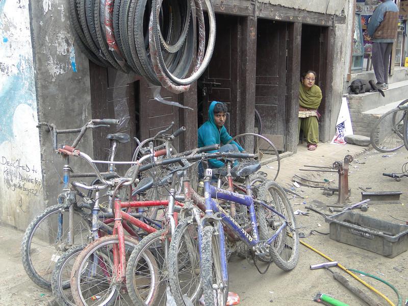 Cycle workshop, Thamel, Kathmandu 1300m