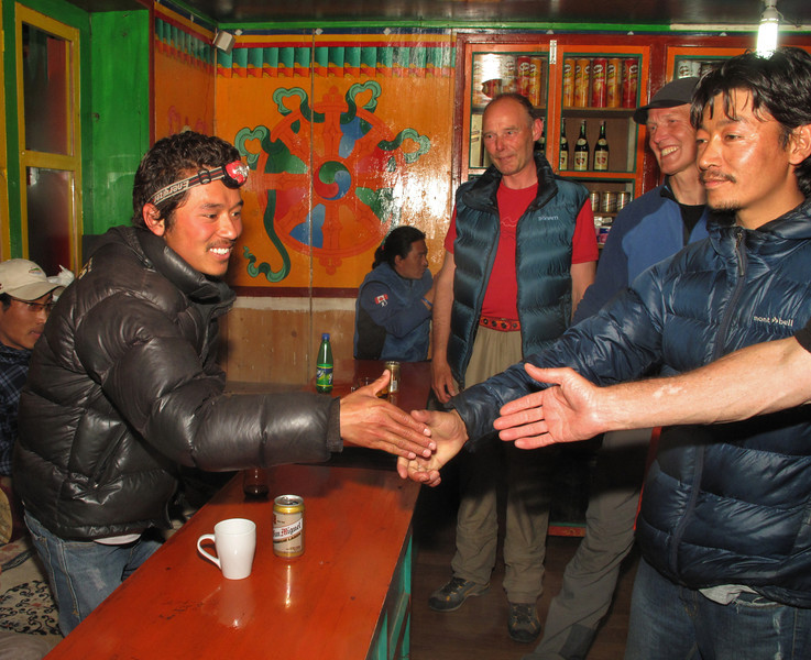 Thanking Mingmat Sherpa, Expedition Farewell Party, Lukla 2800m