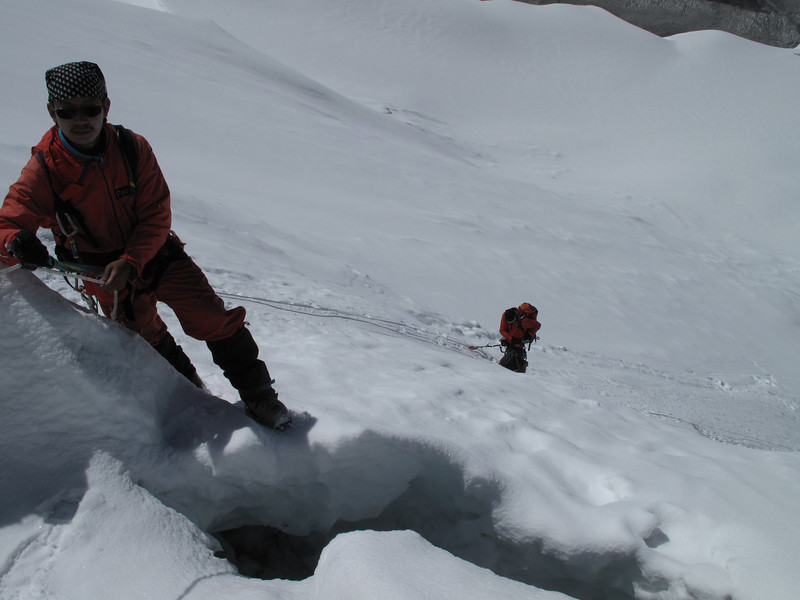9.23h  Ang Sherpa ascending the ice wall, 300m to summit. Ascending Imja Tse, Island Peak 6160m