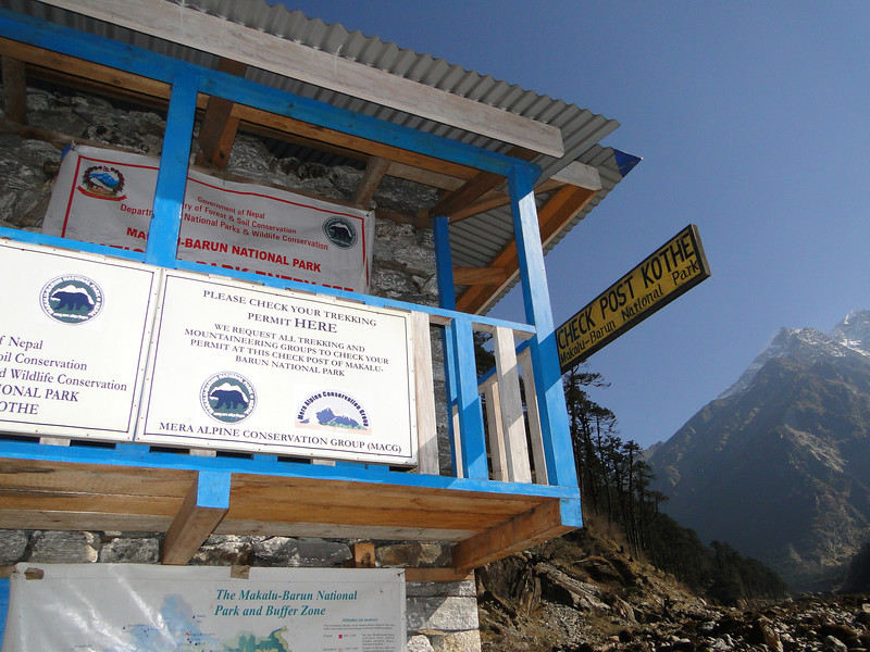 Checking of the permits at Makalu-Barun National Park, Kothe 3700m-Tangnag 4300m