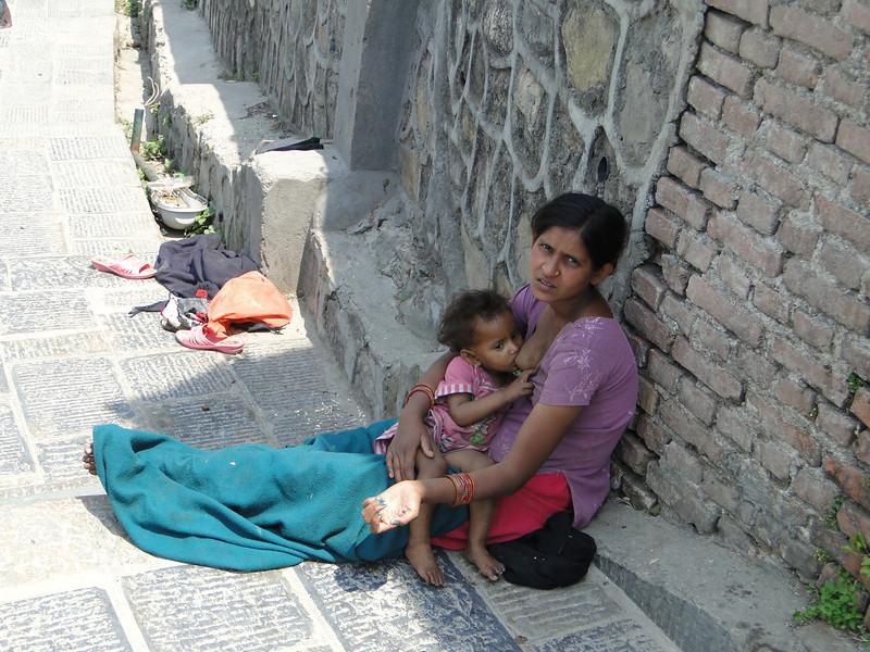 Mother and beggar, Lukla