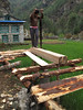 Wood sawing, Monjo 2900m-Namche Bazaar-Tengboche-Deboche 3630m