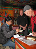 Checking our climbing permits with Ang Geljem Dawa Sherpa, Lukla 2750m