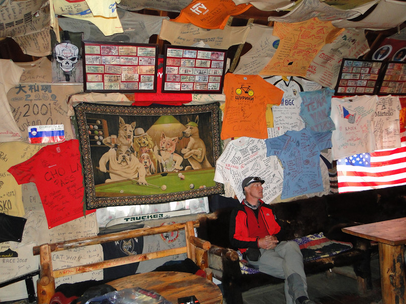 Public house with expedition T-shirts, Namche Bazar 3450m