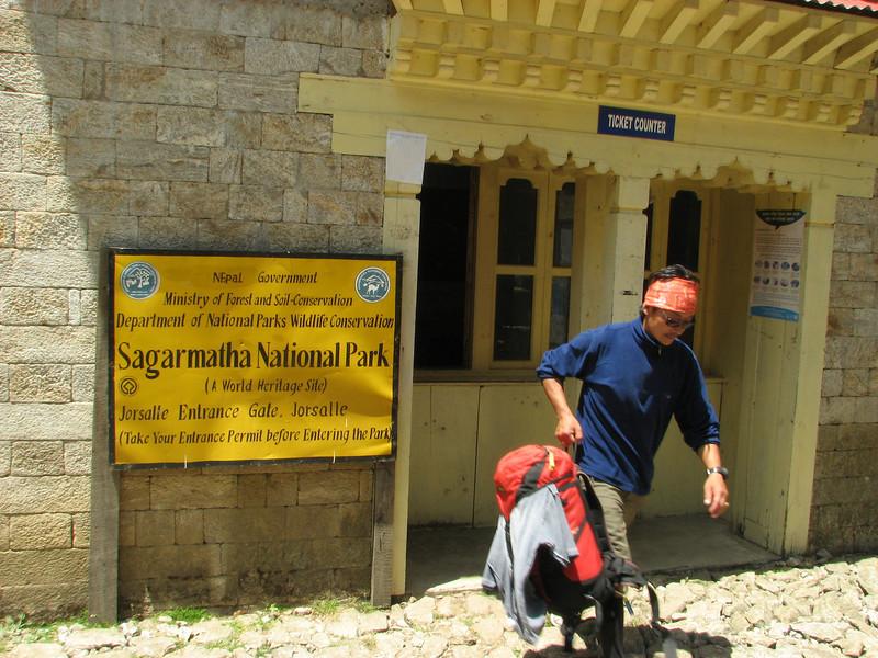 Passing the park gate,  Namche Bazaar 3450m-Phakding 2650m