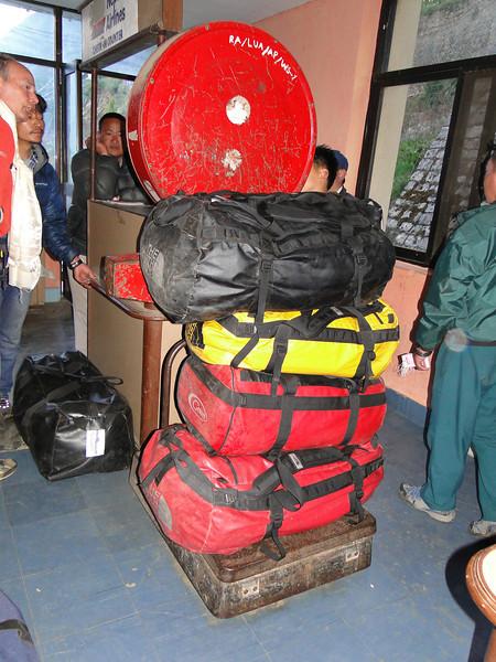 Weighting our luggage, Airstrip Lukla