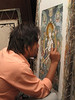 Student working at Thanka painting school, Baktapur Palace Area