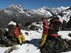 Resting porters, Cliola Kharka 4150m-Kothe 3700m