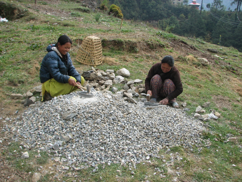 This girls making gravel, Construction works, Lukla 2800m