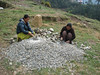 This girls making gravel, Construction works, Lukla 2800m