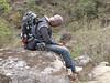 Mingmar Sherpa is sleeping, Zatwrala 3800m-Lukla 2800m