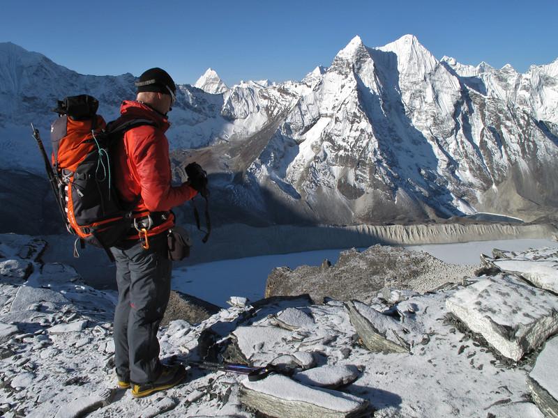 6.32h View on Imja Tsho lake of Imja Glacier and Ombigaichan 6340m, Island Peak Base Camp 5000m-Island Peak summit 6160m