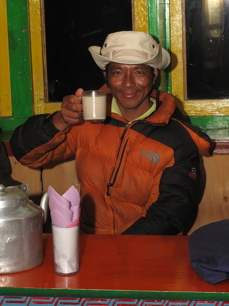 Tenzi like the rice-wine, Expedition Farewell Party, Lukla 2800m