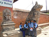 School children near figure of Bhairab, 17th Century, Baktapur Palace Area