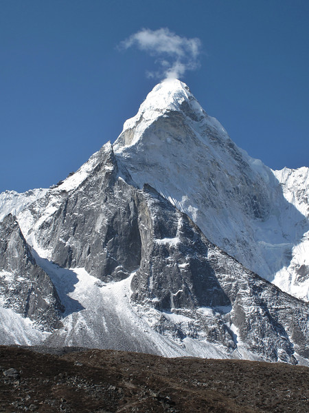 Ama Dablam, 6856m. View from the route Chhukung 4780m-Island peak Base Camp 5000m