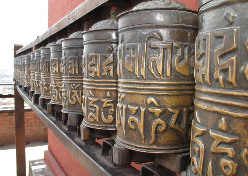 Prayer wheels, Swayambhunath temple, Monkey Temple, Kathmandu 1300m