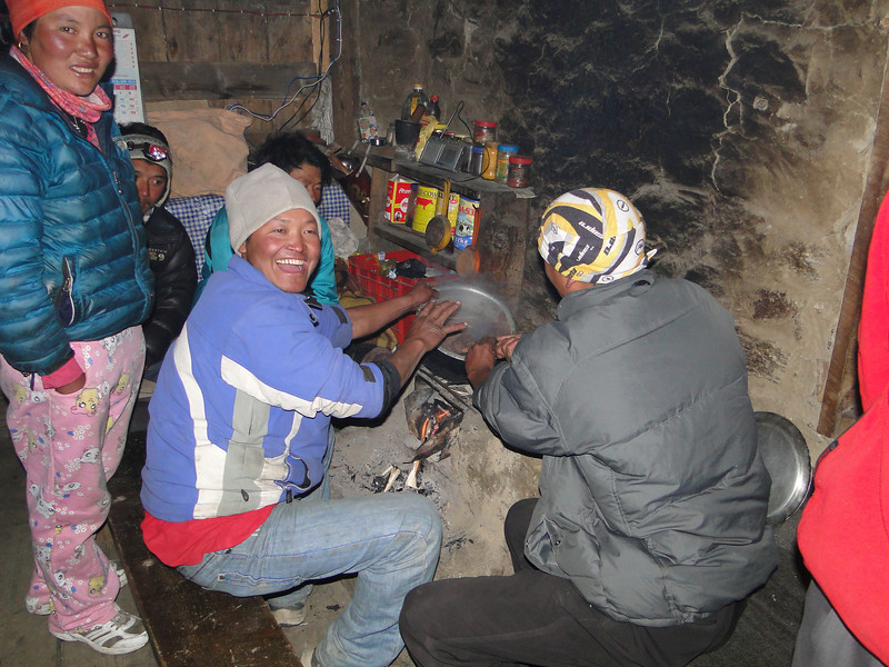 Hand warming and cooking, Camp Kare 4950m